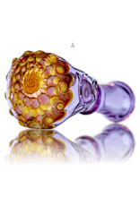 "Koy Glass BATCH.210 4"" Glass Dry Pipe Translucent Purple Implosion Cap Pipe by Koy Glass"