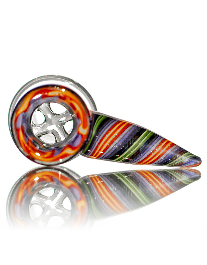 Mike Fro 18mm Bong Bowl Slide Piece w/ Worked Horn Handle and 4-Hole glass screen by Mike Fro (R)