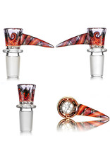 Mike Fro 18mm Bong Bowl Slide Piece w/ Worked Horn Handle and 4-Hole glass screen by Mike Fro (W)