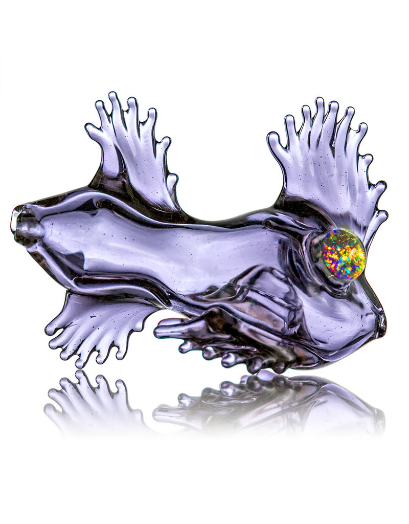 Holzhammer Glass Pipe Dry Potion CFL Reactive Glass Puffer Fish w/ Opal Eyes (A) by Holzhammer