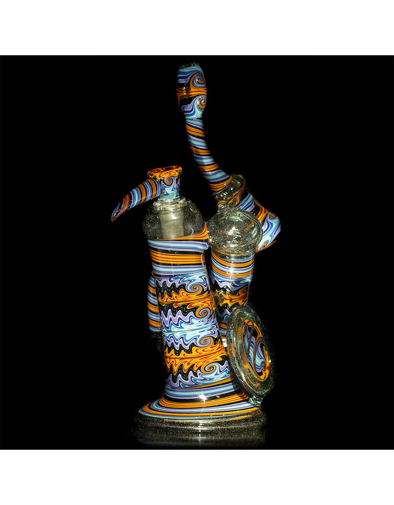 """Mike Fro 14mm 10"""" Double Bubbler Water Pipe with Matching Slide by Mike Fro (B)"""