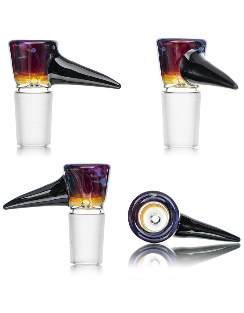 18mm Bong Bowl Slide Piece AMBERPURPLE with Attached Black Horn by Kenta Kito