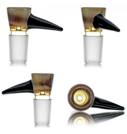 18mm Bong Bowl Slide Piece CARAMEL Bowl  with Attached Black Horn by Kenta Kito