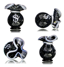 SOLD 25mm Glass Money Bag Squiggle Slurper Cap (D) by JAG X GERM