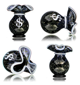 SOLD 25mm Glass Money Bag Squiggle Slurper Cap (E) by JAG X GERM