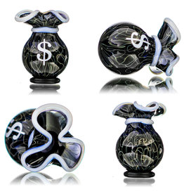 SOLD 25mm Glass Money Bag Squiggle Slurper Cap (H) by JAG X GERM