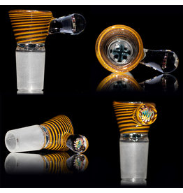 Witch DR SOLD 18mm Bong Bowl Slide with 4 Hole Glass Screen and Millie Handle by Keith Engelmann  (C)