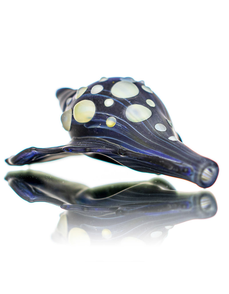 "Christina Cody 5"" Glass Dry Pipe Frosted Glass COBALT Seashell by Christina Cody"