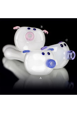 "Sugar Matty BATCH.420 4"" Pig WHITE Glass Pipe by Sugar Matty"