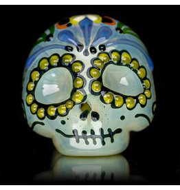 "Dina K SOLD 4"" Glass Dry Pipe Flame Polished Dina K Sugar Skull V"