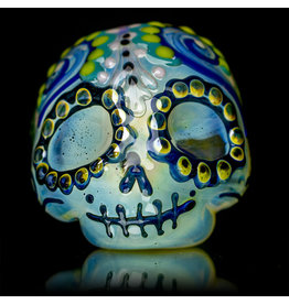 "Dina K SOLD 4"" Glass Dry Pipe Flame Polished Dina K Sugar Skull X"