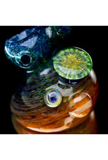 """6"""" Glass Pipe Bubbler Standup Sidecar by Verde Flameworks (A)"""