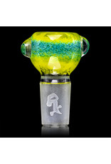 18mm Bong Bowl Slide Piece (A) CANARY / AQUA Inside Out Colored Frit  by Chris Anton