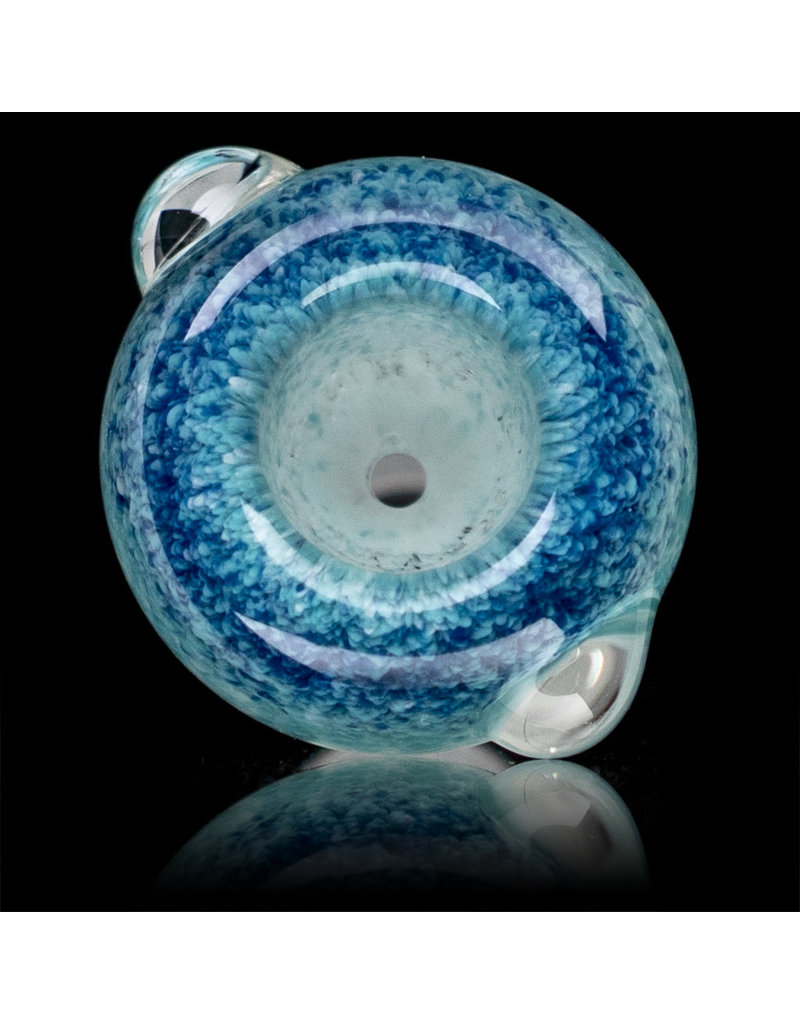 18mm Bong Bowl Slide Piece (D) STAR WHITE and SKYLINE Inside Out Colored Frit by Chris Anton