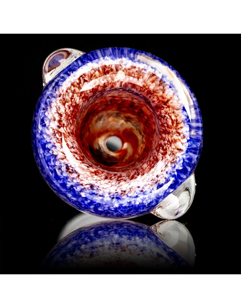 18mm Bong Bowl Slide Piece (E) CHERRY / STAR WHITE / HYACINTH Inside Out Colored Frit by Chris Anton