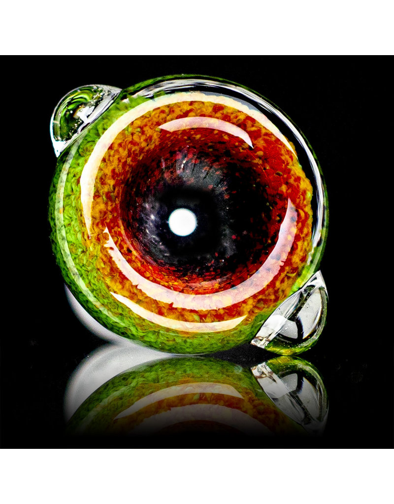 18mm Bong Bowl Slide Piece (G) JET BLACK / JADE / CHERRY Inside Out Colored Frit herbs by Chris Anton