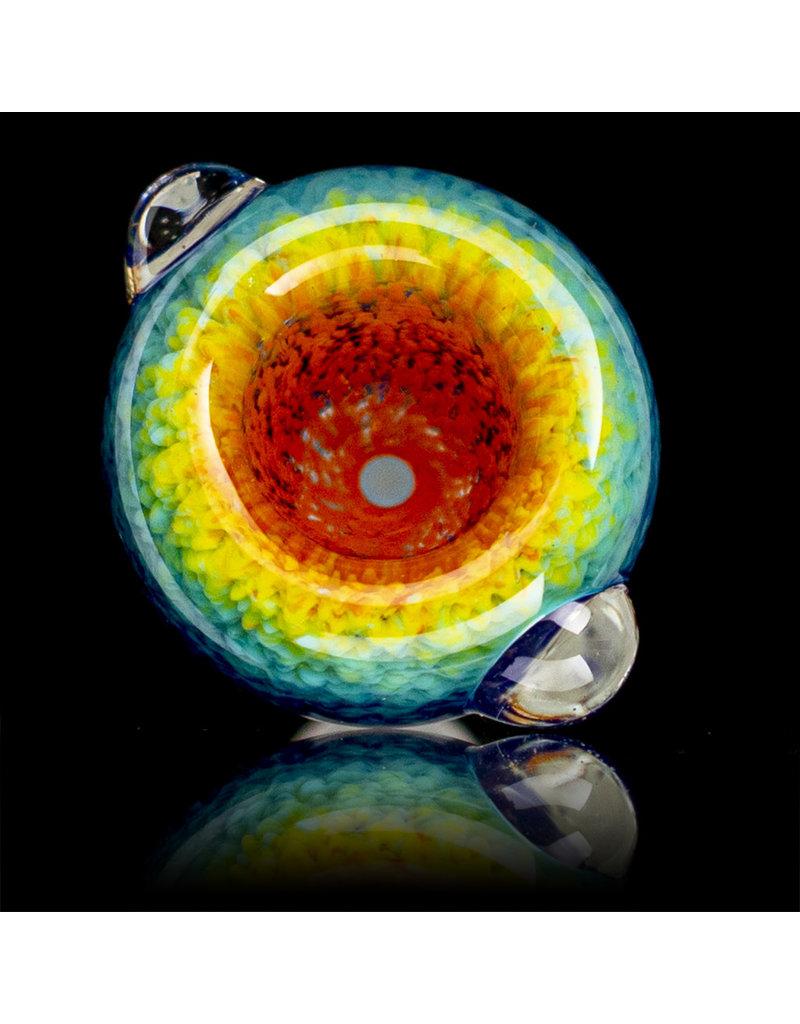 14mm Bong Bowl Slide Piece (B) HYACINTH / AQUA / LAVA Inside Out Colored Frit herbs by Chris Anton