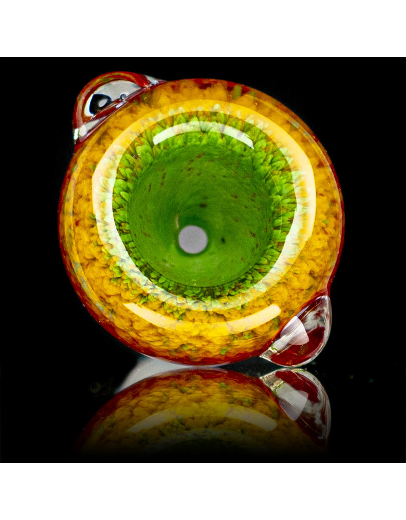 14mm Bong Bowl Slide Piece (E)  CHERRY / LAVA / JADE Inside Out Colored Frit herbs by Chris Anton