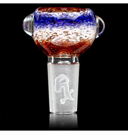 14mm Bong Bowl Slide Piece (G) CHERRY / STAR WHITE / HYACINTH Inside Out Colored Frit herbs by Chris Anton