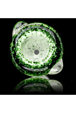 14mm Bong Bowl Slide Piece (J) STAR WHITE / EXP GREEN Inside Out Colored Frit herbs by Chris Anton