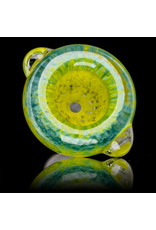 14mm Bong Bowl Slide Piece (K) CANARY / AQUA Inside Out Colored Frit herbs by Chris Anton