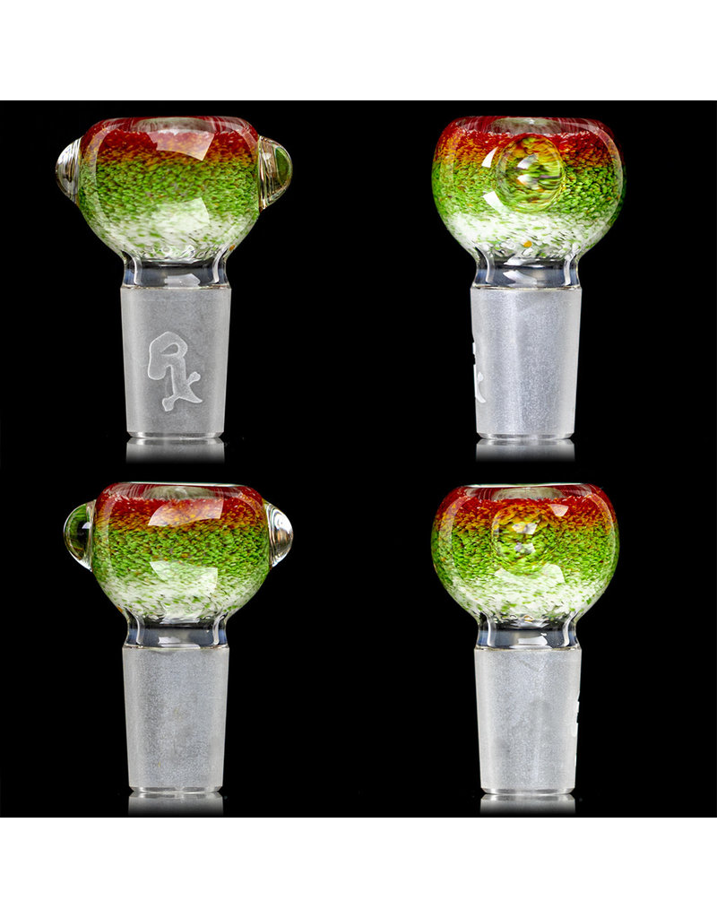 18mm Bong Bowl Slide Piece (J) STAR WHITE / JADE / CHERRY Inside Out Colored Frit herbs by Chris Anton
