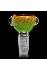 14mm Bong Bowl Slide Piece (O) JADE / LAVA / CHERRY Inside Out Colored Frit by Chris Anton