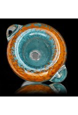 14mm Bong Bowl Slide Piece (P) AQUA and LAVA Inside Out Colored Frit by Chris Anton