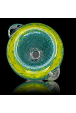 14mm Bong Bowl Slide Piece (Q) AQUA and CANARY Inside Out Colored Frit by Chris Anton