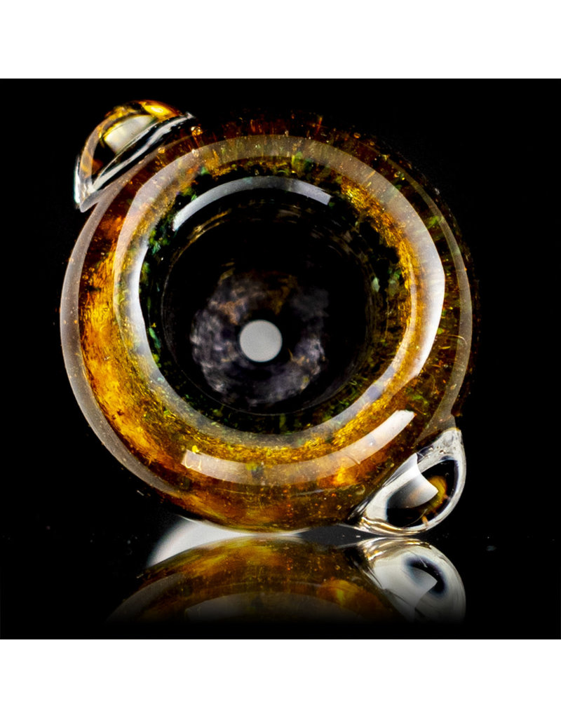 14mm Bong Bowl Slide Piece (S) JET BLACK and GOLD FUME Inside Out Colored Frit by Chris Anton