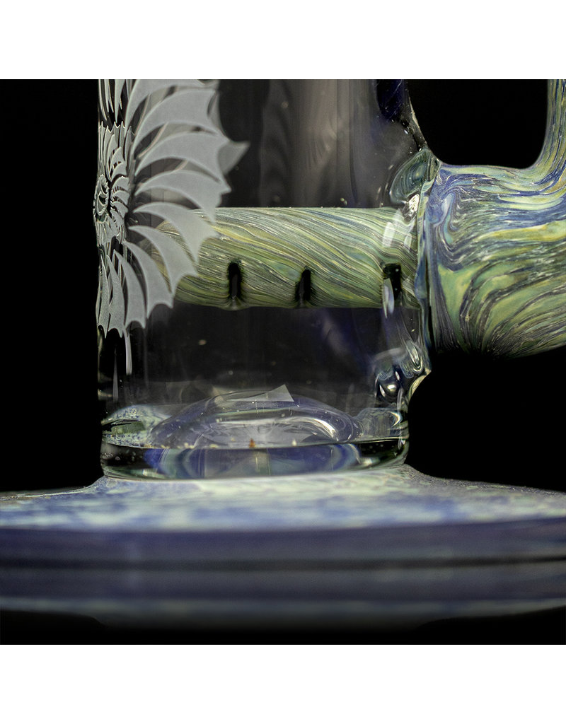 """Stone Tech Glass 14"""" Blue Stone Tech Heady Topper Bong with matching Slide Witch DR"""