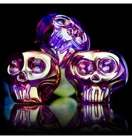 "Colorado Glass Company BATCH.420 5"" Glass Pipe DRY Gold Fume Skull Pipe by CGC Colorado Glass Company"