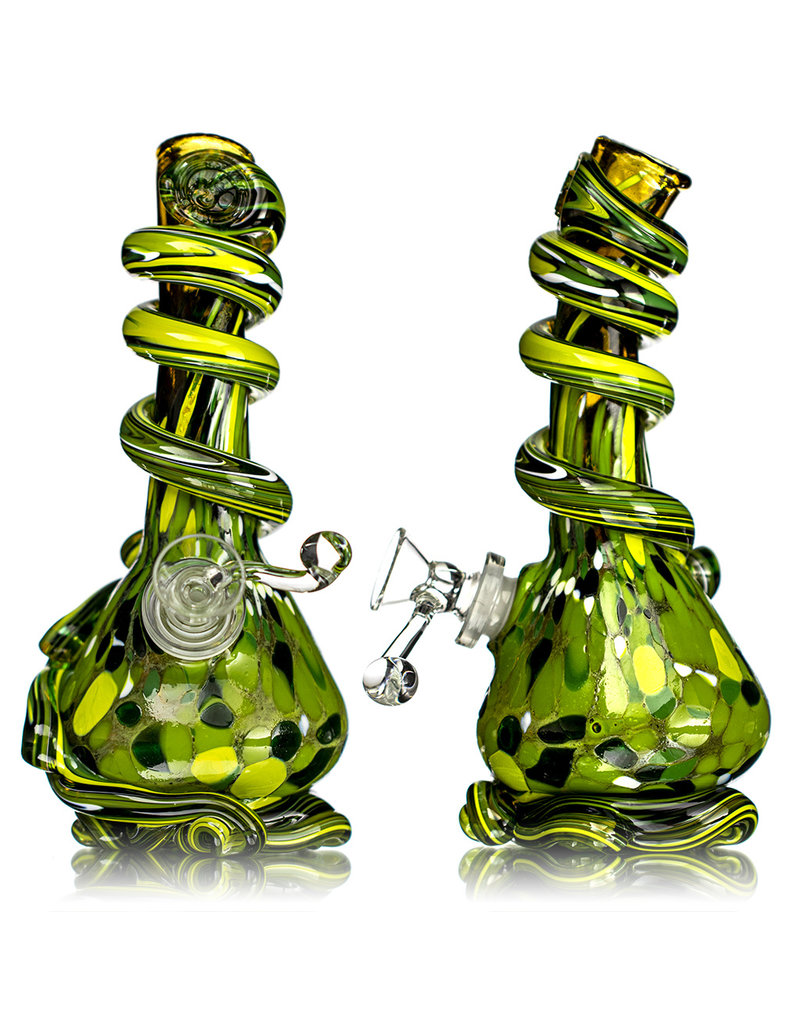 """Special K 14mm 8"""" Special K Soft Glass Water Bong Small Wrapped Color (AD) w/ downstem and slide"""