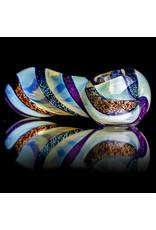 "4"" Glass Pipe Fumed Dichro Twist Spoon by California Glass"