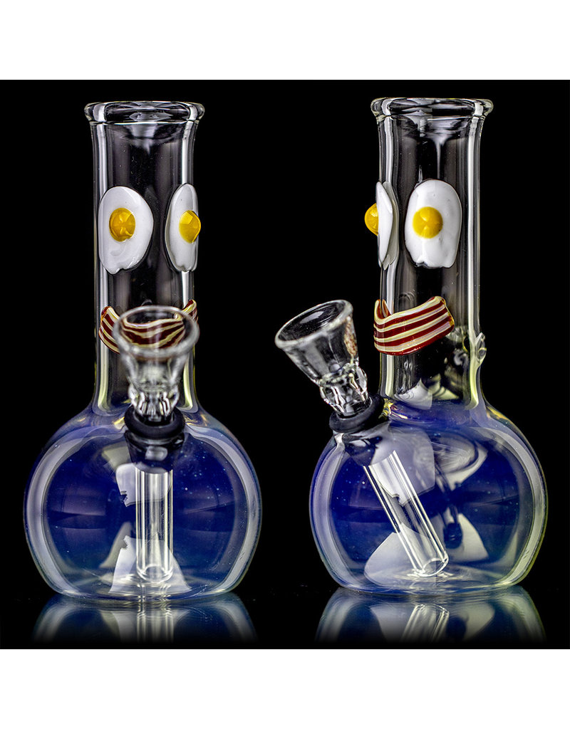 "5"" Glass Water Pipe Mini Tube Grommeted Bong By H2O Glass Wake N Bacon"