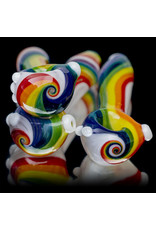 """4"""" Glass Dry Pipe Color Stripes Pipe over Clear by KC Glass"""
