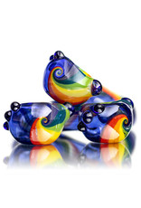 "4"" Glass Dry Pipe Color Stripes Pipe over Cobalt by KC Glass"
