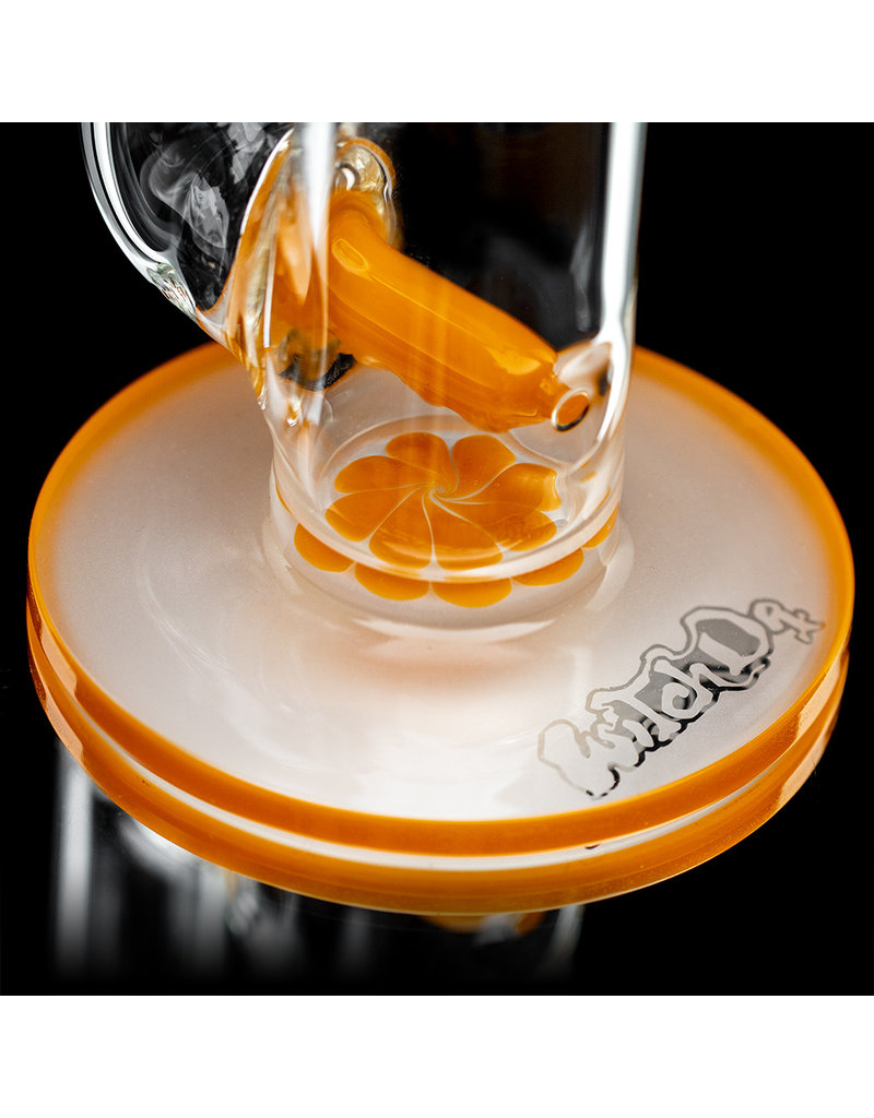 """Witch DR 18mm 44x4 14"""" Glass Water Bong with Matching Slide Rx Color Inline ORANGE CRAYON"""