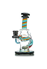 """14mm 7"""" Color Ball Rig Dynamic Glass (E) Jet Black, Blue Spruce and Fire"""