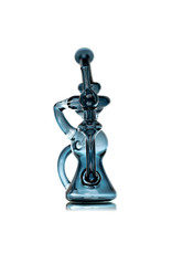 """10mm 7"""" Blue Stardust  Klein Recycler Dab Rig with Matching Bubble Cap by Mohawk"""