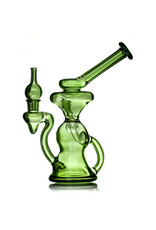 """10mm 7"""" Green Stardust  Klein Recycler Dab Rig with Matching Bubble Cap by Mohawk"""