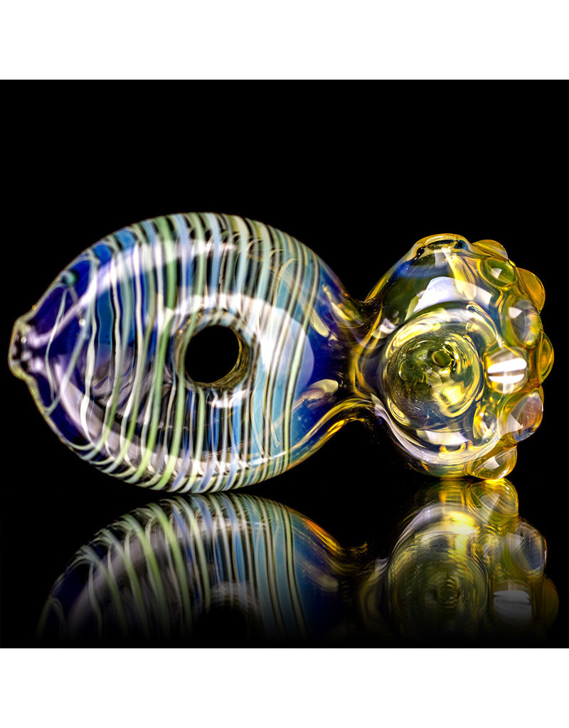 """4"""" Glass Pipe Dry Donut Pipe Fume with Green Accents by B6"""