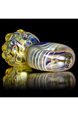 """4"""" Glass Pipe Dry Donut Pipe Fume with White Accents by B6"""
