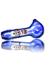 """4"""" Glass Pipe Dry Pink Scarf Snowman on Cobalt by KC"""