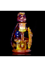 """Evan Cals 14mm 6"""" Dab Rig Full Color Spiral Drain Recycler by Evan Cals with Matching Bubble Cap"""