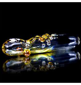 "6"" Glass Pipe Fume Steam Roller with Amber Accents by Rowland"