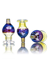 25mm Marbled Glass Bubble Carb Cap by Messy Glass (E) Double Amber Purple