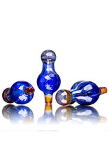 25mm Marbled Glass Bubble Carb Cap by Messy Glass (M) Northstar Yellow x Cobalt