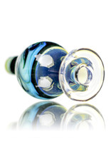 25mm Marbled Glass Bubble Carb Cap by Messy Glass (A) Green x Silver Iris