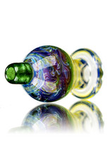 25mm Marbled Glass Bubble Carb Cap by Messy Glass (G) Mystery Adventurine